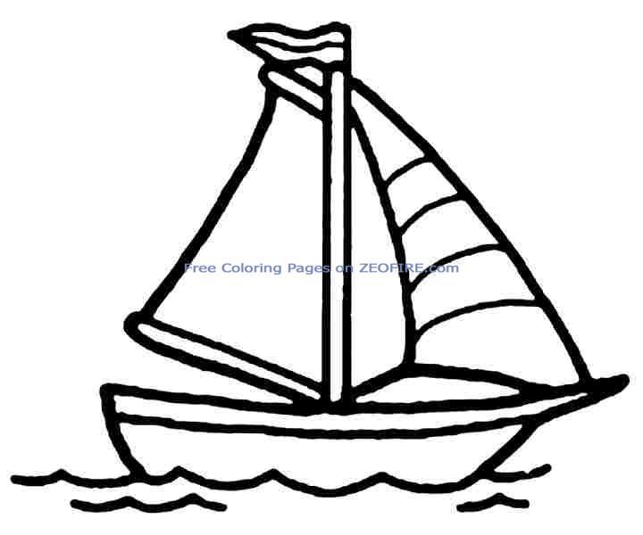 раскраска лодка с парусами для детей
